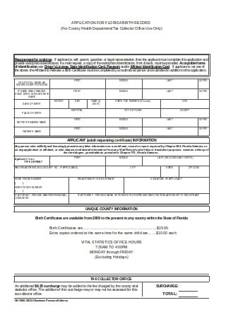 Sample Birth Certificate Application Form