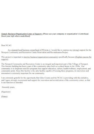 Sample Business Organization Letter of Support Template