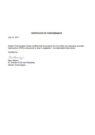 Sample Certificate of Conformance Letter