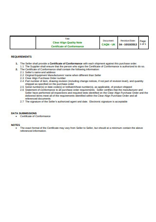 Sample Certificate of Conformance Requirements