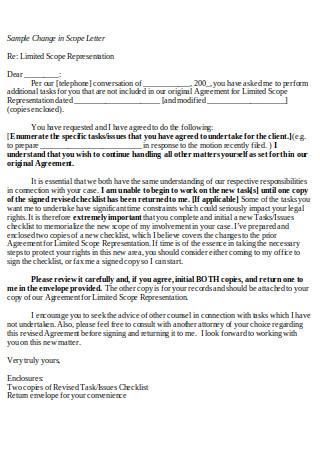 Sample Change in Scope Letter