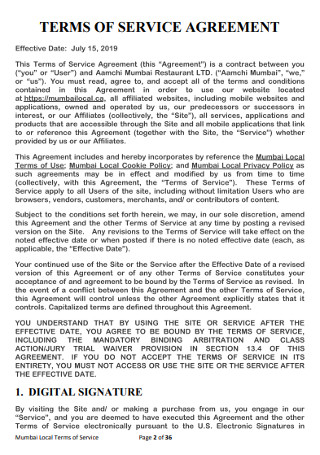 Sample City Terrms of Service Agreement