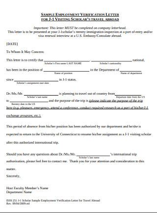 Sample Employement Verification Letter