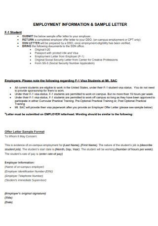 Sample Employment Information Letter