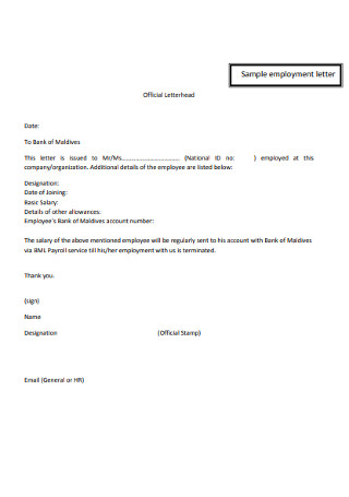 Sample Employment Letter Example