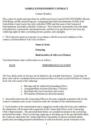 Sample Entertainment Contract
