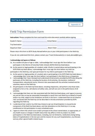 Sample Field Trip Permission Form