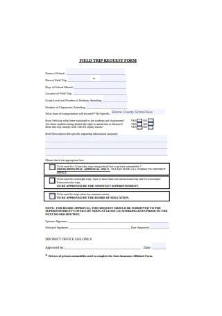 Sample Field Trip Request Form