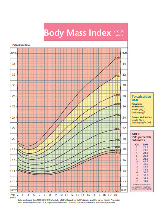 Sample Girls Body Mass Index Chart
