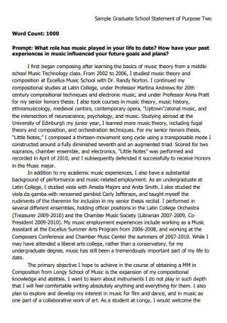 Sample Graduate School Statement of Purpose