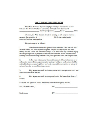 Sample Hold Harmless Agreement Format