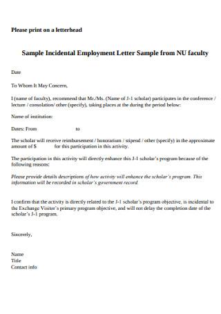 Sample Incidental Employment Letter