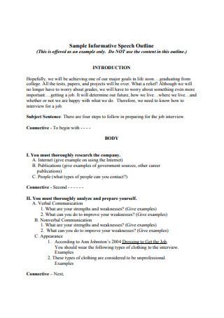 Sample Informative Speech Outlines