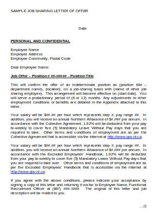 Sample Job Sharing Letter of Offer