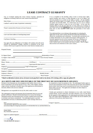 Sample Lease Contract Guaranty Template