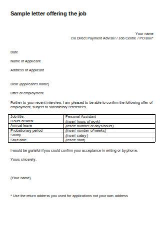 Sample Letter Offering the Job