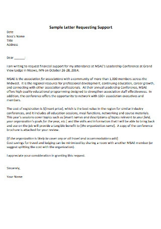 Sample Letter Requesting Support
