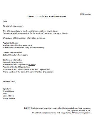 Sample Letter for Attending Conference
