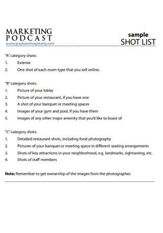 Sample Marketing Short List