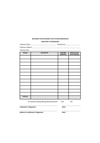 Sample Monthly Timesheet Example