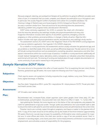 Sample Narrative SOAP Note