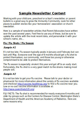 Sample Newsletter Content