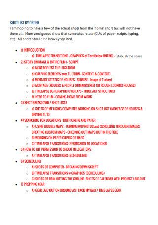 Sample Order Short List Template