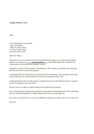 Sample Petition Letter