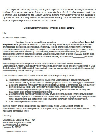 Sample Physician Letter to Social Security