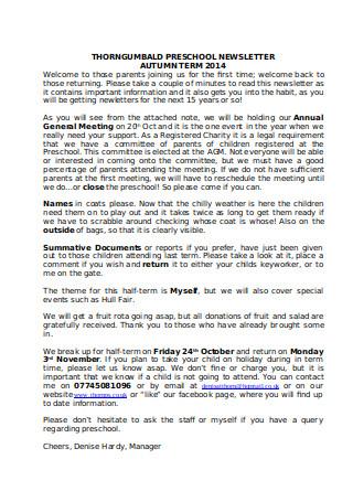 Sample Pre school Newsletter Autumn