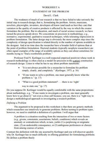 Sample Problem Statement Worksheet