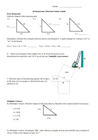 Sample Pythagorean Theorem Study Guide
