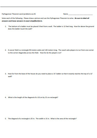 Sample Pythagorean Theorem Word problems