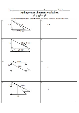 Sample Pythagorean Theorem Worksheet