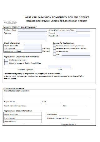 Sample Replacement Payroll Check Template