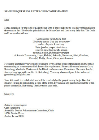 Sample Request for Eagle Scout Letter of Recommendation