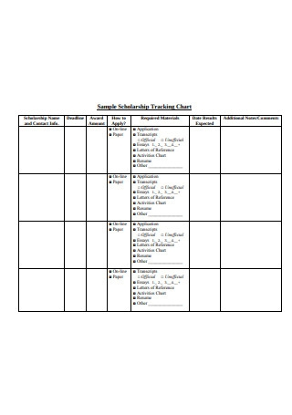 Sample Scholarship Tracking Chart