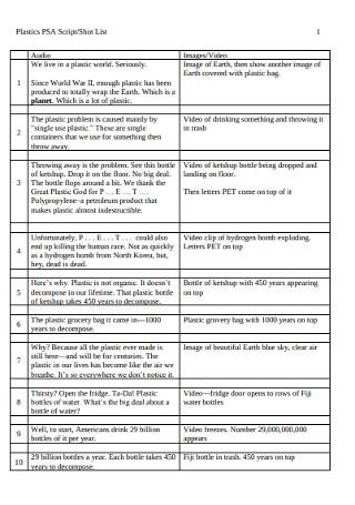 Sample Script Shot List Template