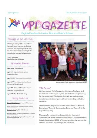 Sample Spring Preschool Newsletter