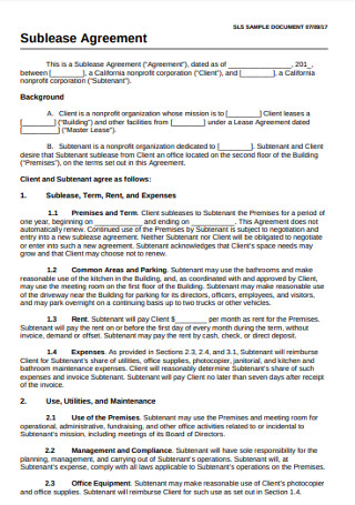 Sample Sublease Documentation Agreement