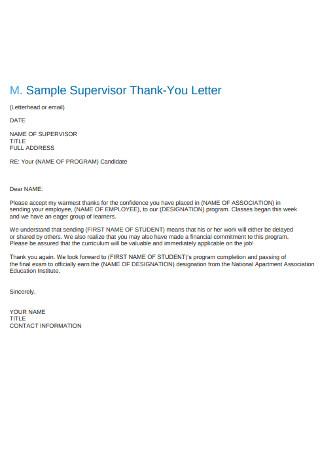 Sample Supervisor Thank You Letter