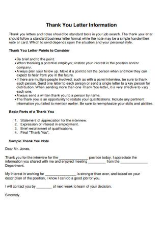 Sample Thank You Information Letter