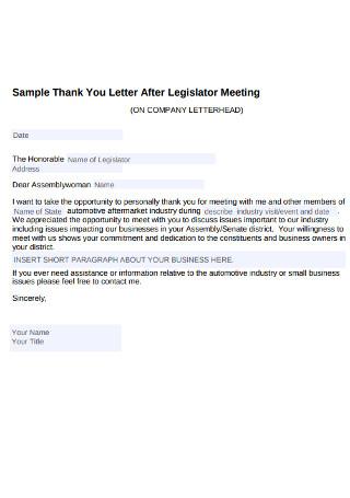 Sample Thank You Letter After Legislator Meeting
