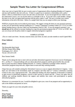 Sample Thank You Letter for Congressional Offices