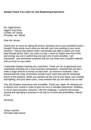 Sample Thank You Letter for Job Shadowing Experience