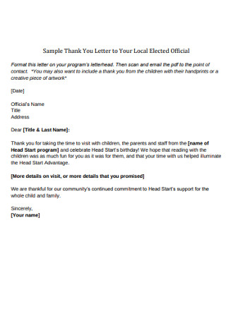 Sample Thank You Letter to Your Local Elected Official