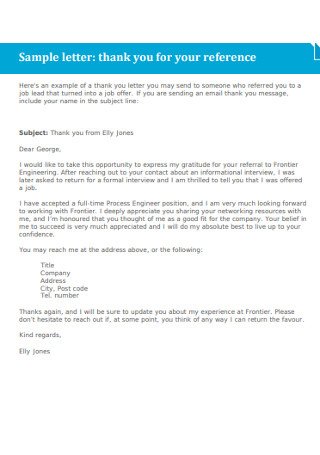 Sample Thank You Reference Letter