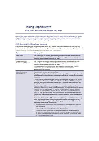Sample Unpaid Leave Format