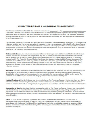 Sample Volunteer Hold Harmless Agreement