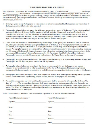 Sample Work Made for Hire Agreement